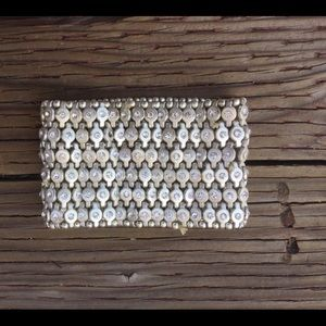 Rhinestone Thick Silver Bracelet